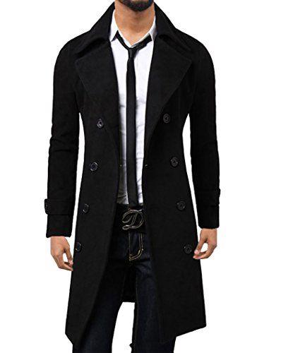 Elonglin Homme Hiver Manteau Trench Coat à Manches Longues