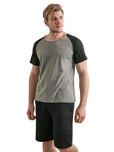 YIMANIE Mens Pajama Set Short Sleeve Cotton Sleepwear Plaid Shorts Summer Set Loungewear | Jodyshop