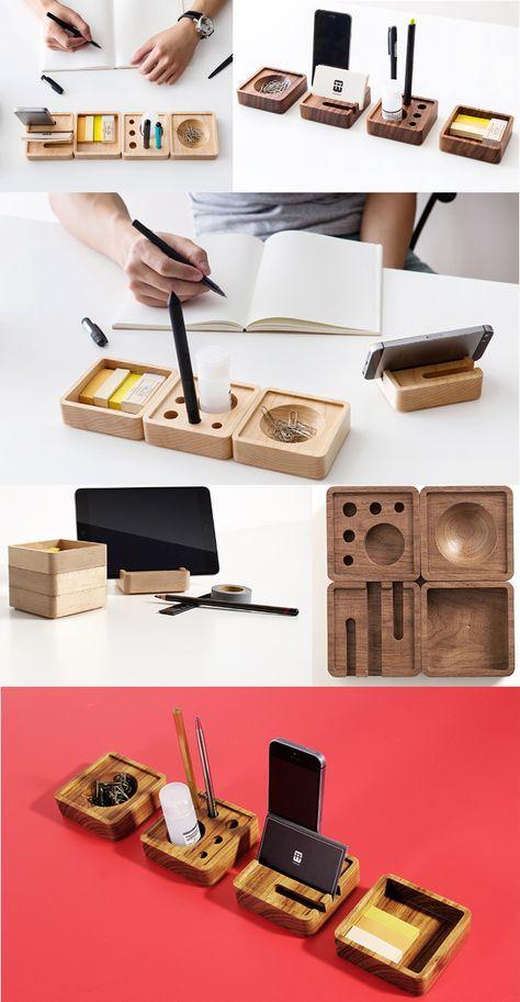 Desk Stationary Set Wooded Diy Desk Organizer Ideas To Make Your Desk Cute Modular Desk Organizers Pen Pencil In 2020 Desk Organization Diy Wood Diy Desk Organization