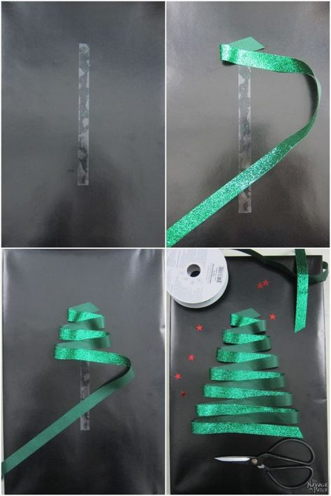 Fun and Stylish DIY Christmas Gift Wrapping Ideas. www.TheNavagePatch.com. Shown: simply folding a green ribbon back and forth on double-sided tape.