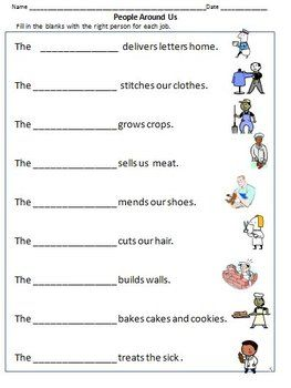 Community Workers Helpers Worksheets For Grade 1 2 With