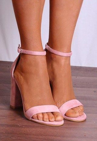 Pink shoes heels, Pink block heel