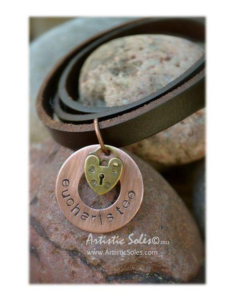 Custom Metal Stamped Eucharisteo Wrap Bracelet by by ArtisticSoles, $22.00