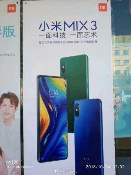 Mi Mix 3 Poster Shows Blue And Green Colors Confirms Rear Fingerprint Reader Xiaomi Fingerprint Reader Mixing