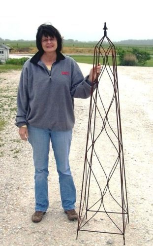 "Very Large 68"" Tall Wrought Iron Sq Finial Topiary Obelisk Trellis Yard Art | eBay"