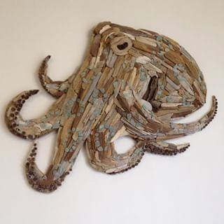 Australian Blue Ring Octopus For Sale With Other Art Pieces On My Fb Page Driftwood Sculpture Octopus Dr In 2020 Driftwood Art Sculpture Driftwood Art Art Pieces