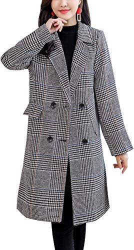 Womens Classic Plaids Trench Coat Elegant Wool Peacoat Mid Length Jacket