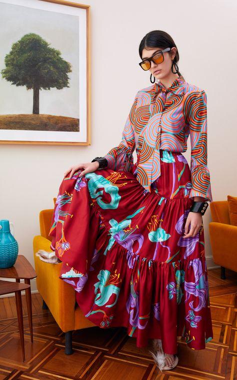 La DoubleJ Printed Silk Maxi Skirt