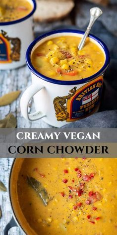 Vegan corn chowder - this rich dairy-free sweetcorn and potato soup is hearty, comforting, creamy and absolutely delicious! It is also super easy to make and ready in just half an hour! #cornchowder #vegansoup #veganmeal #healthy #dairyfree