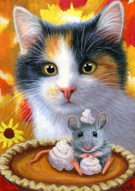 US Seller. 50x40cm Thanksgiving Pumkpin Pie Mouse Calico Cat Diamond Painting Kit. Square Drills Full Drill. Fast S&H by OurCraftAddictions