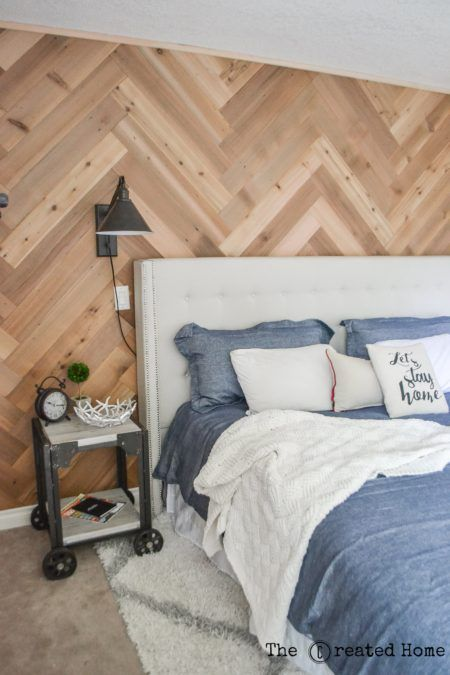 How To Diy A Herringbone Accent Wall The Created Home Shiplap Accent Wall Bedroom Wall Accent Wall Bedroom