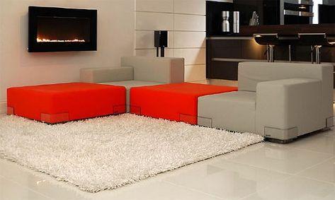 Chaise Lounge Sofa  Bachelor Pad Decorating Ideas Bachelor decor Gray tile floors and Black fireplace