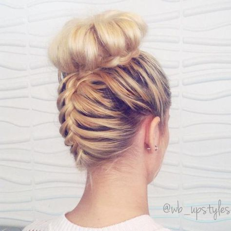 Braided Around High Bun Updo