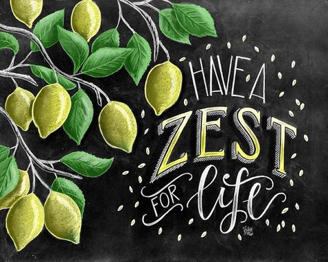 ♥ Have A Zest For Life ♥  ♥ L I S T I N G ♥ Each image is originally hand drawn with chalk and converted digitally. Chalkboard prints maintain the authenticity and dust of the original drawing smudge free. All prints are printed on Deep Matte Fujicolor Crystal Archive Professional Paper.  ♥ F R A M I N G ♥ Frame in front of the glass of your frame for a more realistic chalkboard appearance, or frame behind the glass in areas where moisture is possible (bathrooms, sinks, etc...). White and/or ...