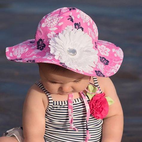 Baby Girls Sun Hat Chin Strap Daisy Embroidery Summer Beach Days Sun Protection