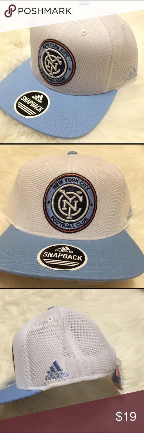 NWT Adidas NYCFC New York City FC Snapback Hat New with tags Adidas New York City FC NYCFC MLS Official SnapBack Hat. White mesh with light blue Bill, embroidered crest on the front. One size fits most. Has MLS tags and a sample tag adidas Accessories Hats
