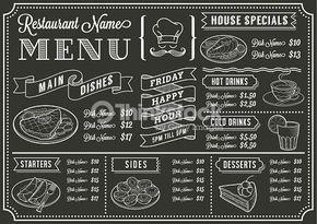 A Full Vector Template Chalkboard Menu Speisekarte Restaurant Menu Tafel Kreidetafel Designs