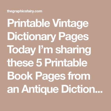 Antique Vintage Dictionary Pages Paper Instant DIGITAL Etsyvintage