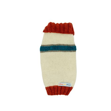Ivory Cream and Rusted Roof Orange Striped Dog Sweater