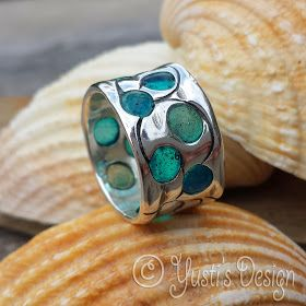 Silver clay ring with acrylic resin