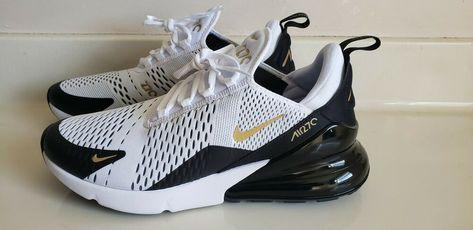 Nike Air Max 270 White Metallic Gold Black Running Men's