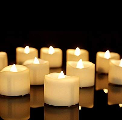 Flameless Tea Light Candles Pack of 12 Realistic and Bright Led Candle Lights in Wave Design Electric Fake Candle in Bright Warm White and Wave Open by GrassVillage 3.5 cm x 4 cm Tall