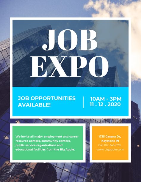 Colorful Job Expo Poster Template