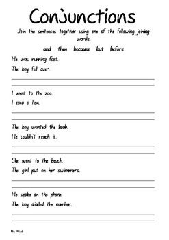 Conjunctions Worksheet 2 ELA-Literacy.L.5.1a Language Worksheet ...