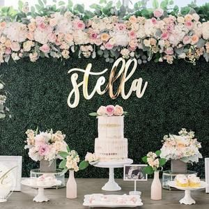 Personalized Backdrop Name Cutout Wedding Backdrop Baby Shower Birthday Party Large Custom First and Last Name Sign Wooden Name Decor