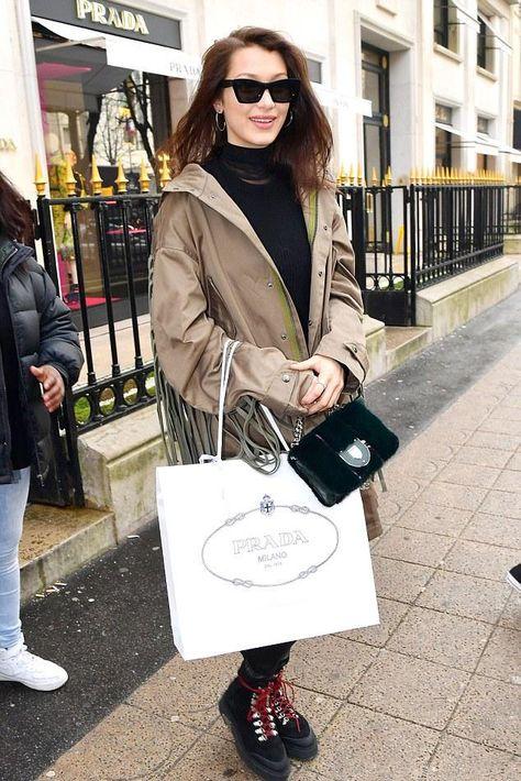 401ae15566 Bella Hadid Fashion Shopping at Prada in Paris January 23