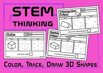 Color Draw Trace 3d Shapes Worksheets Stem Shapes Worksheets