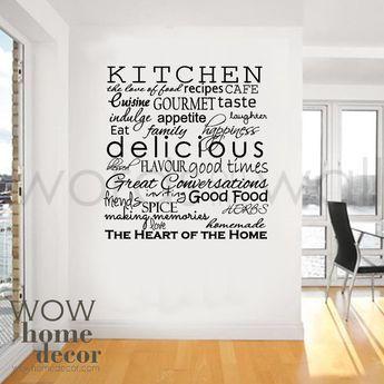 Vinyl Wall Sticker Art Kitchen Words Inspirational Words For