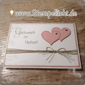 Greeting card for the wedding with Stampin'Up! Element punch heart and linen thread