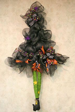 Deco Mesh Witch Wreaths  Door Hangers Pinterest Mesh - witch decorations