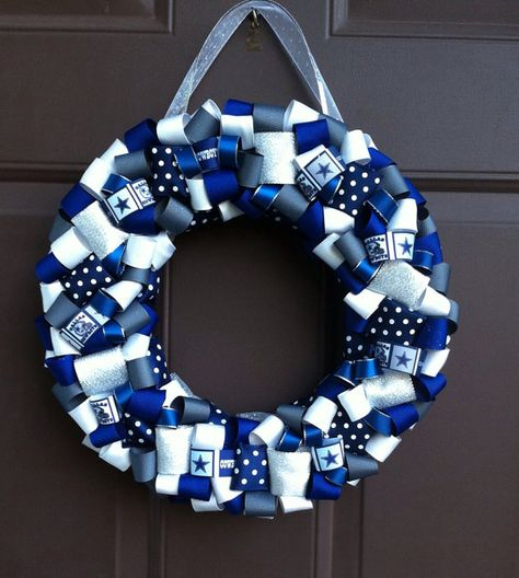 Dallas Cowboys Wreath Ribbon for front door NFL by WeHaveWreaths.