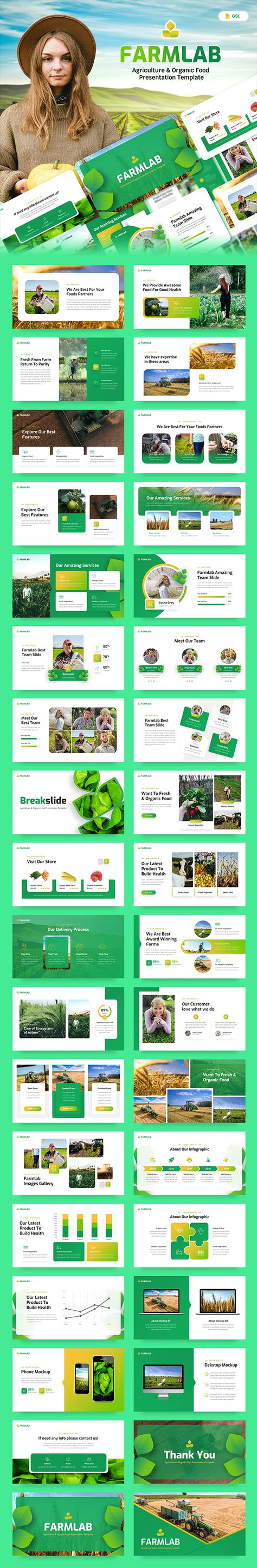 Farmlab - Agriculture & Organic Food Google Slides Presentation Template