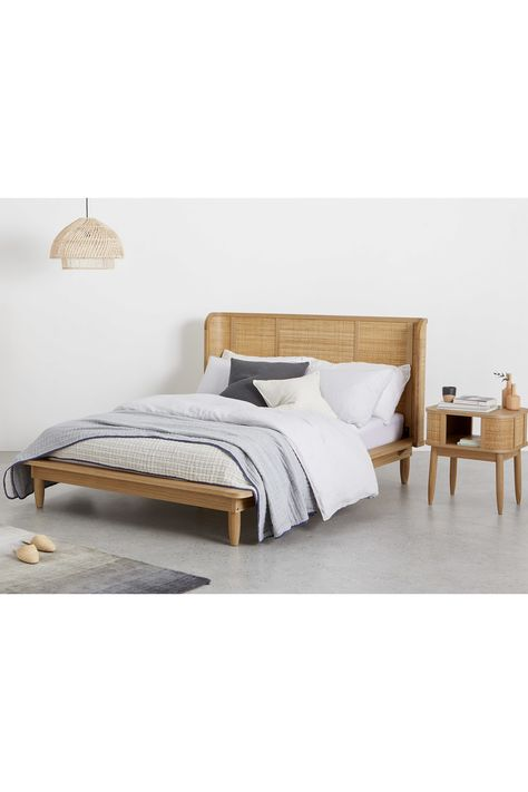 Liana Bett 140 X 200 Cm Esche Und Rattan Furniture Bed How To Make Bed