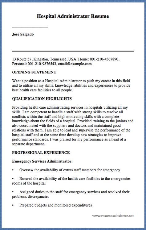 Hospital Administrator Resume Jose Salgado 13 Route 57, Kingston - healthcare administrator resume