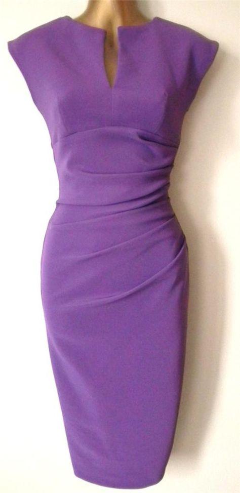 Robe Crayon Violet COL Déchiré Vintage Année 50 EX Julien Macdonald Pour Femme | eBay