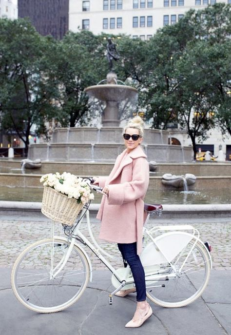 theStyleShake | Street Style | French inspired fashion | pink coat, skinny jeans, nude ballet flats, shades + a pretty bike basket filled with flowers