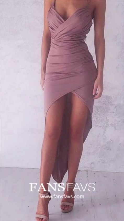High Low Homecoming Dresses 2019, Modest Prom Dresses for Teens, Sheath/Column Formal Dresses Jersey, Asymmetrical Cocktail Party Dresses V-neck #FansFavs #highlowdresses #homecomingdresses #partydresses