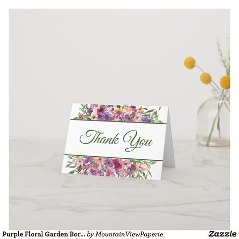 Purple Floral Garden Border Thank You Card Zazzle Com Custom