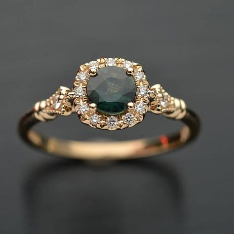 Engagement ring with natural Montana green bluish sapphire with cushion micro pave halo classic style in white rose yellow gold or platinum Engagement Ring Buying Guide, Halo Engagement Rings, Delicate Rings, Unique Rings, Diamond Dealers, Sapphire Jewelry, Sapphire Rings, Diamond Cluster Ring, Conflict Free Diamonds
