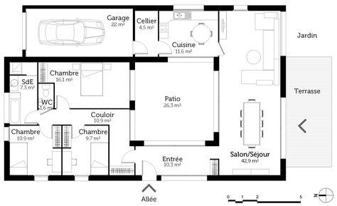 plan maison patio - Recherche Google Plans Série 1 Pinterest