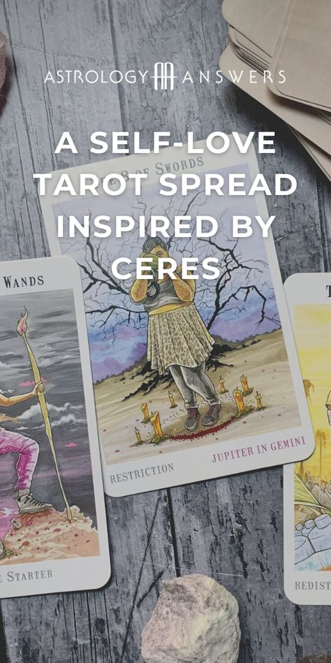 This self-love Tarot spread is inspired by asteroid Ceres and designed to help you show yourself gentleness and nourishing love. #selflove #selflovetarot #lovetarot #ceres #asteroidceres #ceresastrology #astrology
