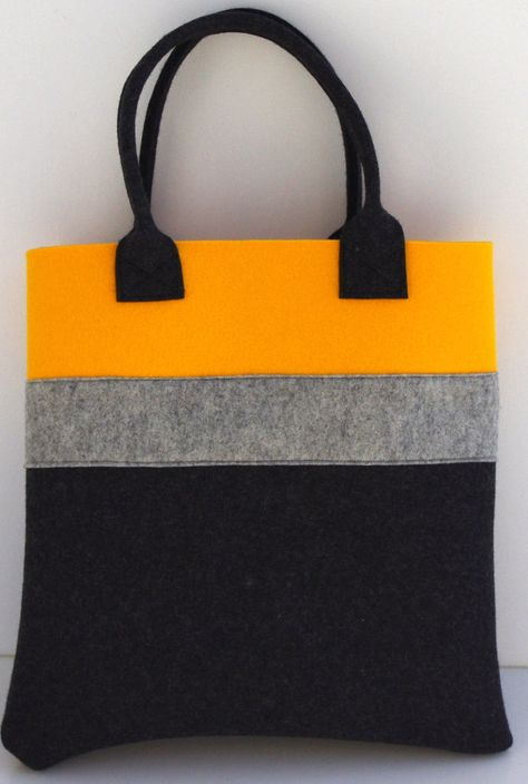 Felt Tote Yellow Charcoal Shopper Shopping Bag by WeltinFelt, €36.00