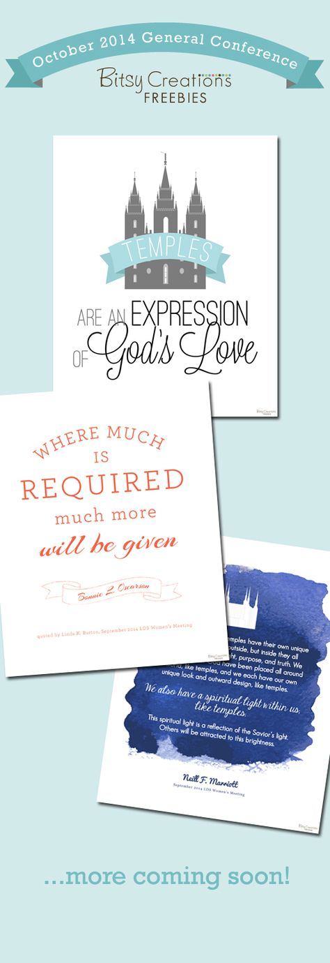 October 2014 LDS General Conference FREE Printables from BitsyCreations #ldsconf