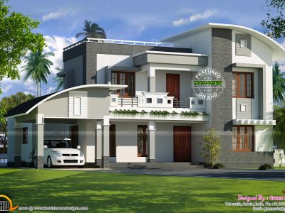 Curved Roof Flat Roof House Plan Kerala Home Design And Kerala House Design Duplex House Design House Design