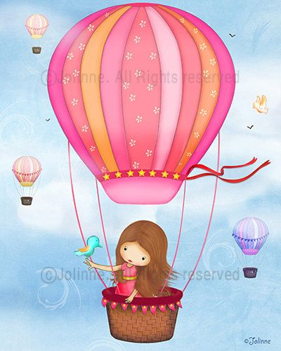 Childrens Wall Art girl in hot air balloon  for Baby by jolinne, $15.00