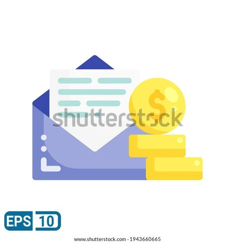Envelope Money Icon Flat Style Isolated Stock Vector (Royalty Free) 1943660665
